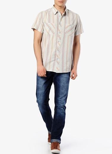 Quiksilver Quiksilver Çizgili Cepli Kısa Kollu Normal Yakalı Erkek Gömlek Renksiz